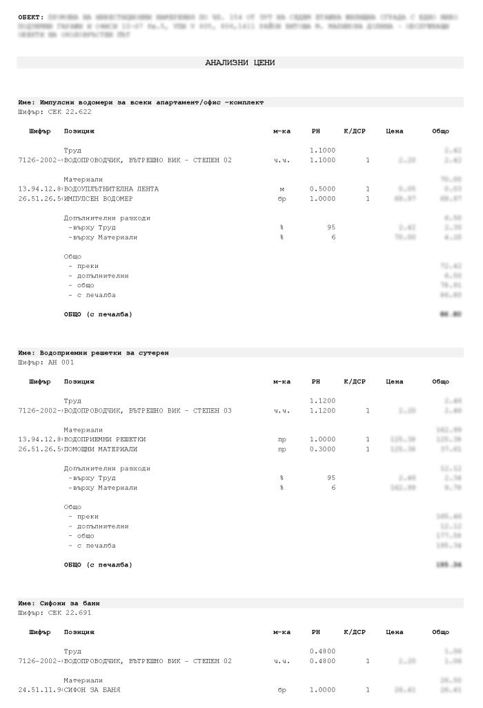 Примерни анализни цени