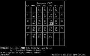 Създаване на календар в Microsoft Project 4.0 for DOS