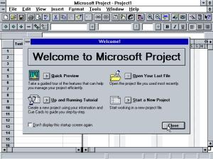 Microsoft Project 4.0, начален екран