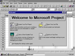 Microsoft Project 95, начален екран