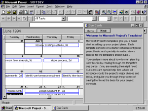 Microsoft Project 95, календар